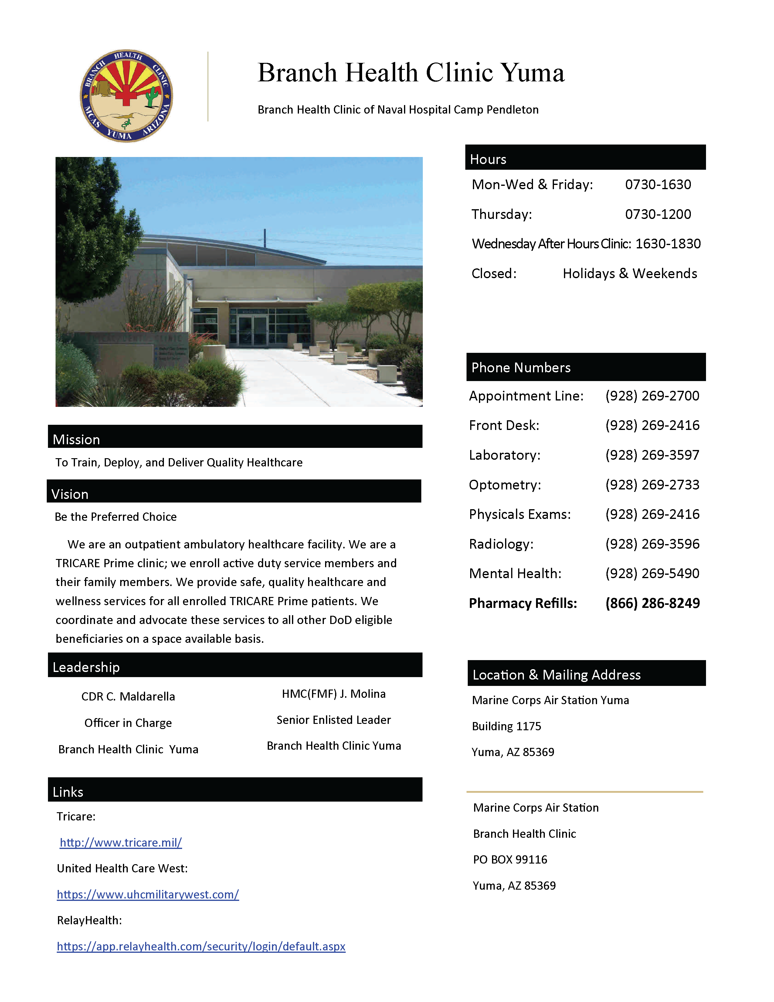 Marine Corps Air Station Yuma > Commands > Branch Health